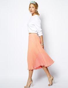 Enlarge ASOS Pleated Midi Skirt in Colourblock