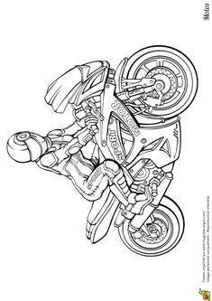 Coloriage Moto Course Fille
