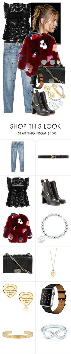 """Out of touch"" by monikakrummradt ❤ liked on Polyvore featuring Current/Elliott, Gucci, Zimmermann, Chloé, Fendi, Tiffany & Co., Chanel, Hermès and Illesteva"