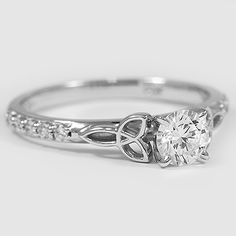 Engagement Ring White Gold Luxe Celtic Love Knot Ring // Set with a Carat, Round, Super Ideal Cut, I Color, Clarity Lab Diamond Celtic Love Knot, Celtic Knot Ring, Celtic Rings, Celtic Engagement Rings, Vintage Engagement Rings, Irish Wedding Rings, Lesbian Wedding Rings, Irish Rings, Piercings