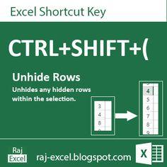 Raj Excel: Excel Short Cut Keys: Ctrl+ Shift + (  Unhide Rows...