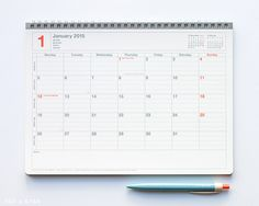 Mark's Tokyo Edge 2015 Notebook Calendar M - Ivory :: Fox and Star #planner #stationery #calendar