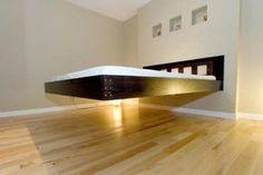 floating bed, creative beds for modern interior Bed Frame Design, Diy Bed Frame, Bedroom Bed Design, Modern Bedroom Design, Interior Design Living Room, Modern Interior, Furniture Projects, Bedroom Furniture, Furniture Design