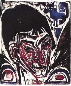"""Portrait Otto Mueller_KIRCHNER_ Impression 'à la poupée"""""""