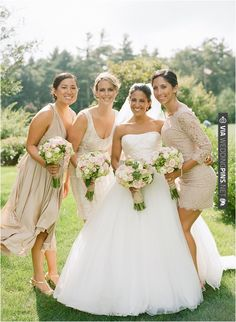 beige bridesmaid dresses | CHECK OUT MORE IDEAS AT WEDDINGPINS.NET | #bridesmaids