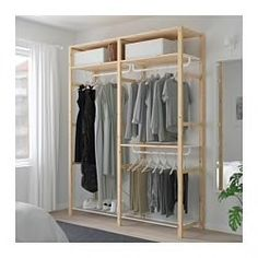 IKEA - IVAR, Shelving unit with clothes rail, Untreated solid wood is a durable natural material which is even more hardwearing and easy to look after if you oil or wax the surface. You can move shelves and adapt spacing to suit your needs. Clothes Rail, Ikea, Ikea New, Clothes Shelves, Shelving, Ikea Shelving Unit, Shelving Unit, Closet Design, Ikea Ivar