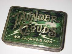 old tin box THUNDER CLOUDS mixture TOBACCO TIN | #282129122