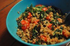 red pepper, kale + [veggie] sausage quinoa bowl