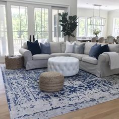 gorgeous living room color schemes to make your room cozy 4 Blue And White Living Room, Blue Living Room Decor, Living Room Color Schemes, Coastal Living Rooms, Living Room Grey, Rugs In Living Room, Home And Living, Living Room Designs, Modern Living