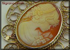 Ciondolo in filigrana d'argento con cameo di GioielliOliveri Silver Filigree, Antique Silver, Antiques, Pendants, Detail, Gifts, Pictures, Quilling, Presents