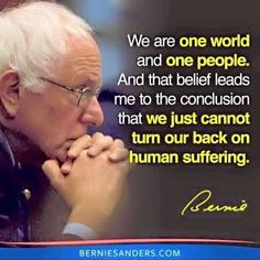 We're Voting for Bernie Sanders because Bernie is is the most compassionate candidate. Bernie Cares! #BernieCares.