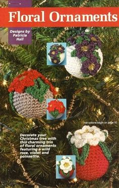 Y594 Crochet PATTERN ONLY Ornament Covers Violet Rose Poinsettia