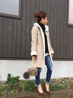Haru☆さんの「フェイクムートンフード付コートコート(SHOO・LA・RUE|シューラルー)」を使ったコーディネート