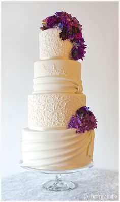 Lavender and Royal Purple Wedding Cake by The Pastry Studio: Daytona Beach, Fl