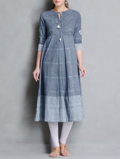 Buy Indigo White Block Printed Pleated & Tie Up Detailed Cotton Kurta Apparel Tunics Kurtas Online at Jaypore.com