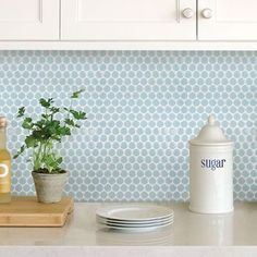 Add a pop of color to kitchens and bathrooms with these peel and stick panels. A light blue hue gives their penny tile design a serene feel. Penny Tile Peel & Stick Backsplash contains 4 pieces on 4 sheets that measure 10 x 10 inches. Peel Stick Backsplash, Penny Tile Backsplash, Backsplash Panels, Tile Backsplash, Blue Tiles, Backsplash, Vinyl Tile, Peel N Stick Backsplash, Kitchen Tiles Backsplash