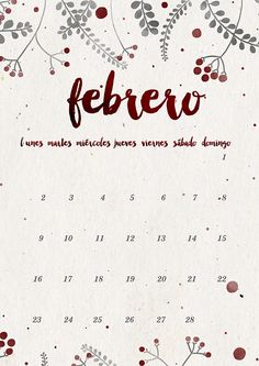 calendario febrero: imprimible y fondo | milowcostblog♥