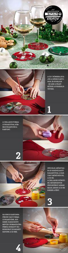 Kreatív poháralátét CD-ből A használaton kívüli, CD-lemezekből otthon vagy az irodában mindig kallódik pár darab; ezek ötletes ünnepi felhasználására mutatunk példát. A kerek műanyagkorongok csillogó felszínét kombináljuk karácsonyi mintákkal - és gyakorlatilag kész is vannak a poháralátétek! A CD-ken kívül kell hozzá színes karton, karácsonyi csomagolópapír, ragasztó, olló, ceruza, mintalyukasztó. Gyerekekkel is belevághatunk az alkotásba, annyira egyszerű!