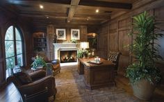Elegant Home Office. Wow! I wish... Love the fireplace. I'd never leave!