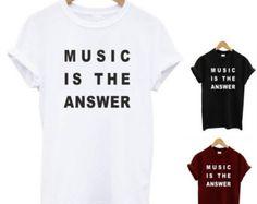 Música t camisa es la respuesta/tendencia divertida streetwear superior damas hombres unsiex superior homies droga regalo de swag tumblr nerd geek