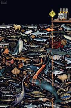 Elaborate Collages of Dangerous Debris & Creatures Lurking Underwater | These elaborate collages of dangerous debris and creatures lurking beneath a dock are part of an outdoor ad campaign for Dry Dock, an Australian beer. The campaign was created by Australian ad agency Droga5.