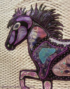 """Brimill - Icelandic Horse"" by Georgia Thorne. Zentangle design. Judge's Recognition, 2015 AZQG. Closeup photo by Quilt Inspiration"