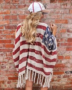 Accessories – Stars & Stripes – Vintage Knit Poncho | Gameday Accessories