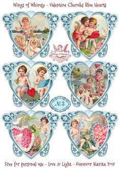 Wings of Whimsy: Valentine Cherubs Hearts Blue #vintage #ephemera #freebie #printable #valentine #heart #cherub