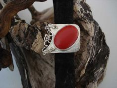 silver ring with coral Gemstone Rings, Silver Rings, Coral, Gemstones, Handmade, Jewelry, Hand Made, Jewlery, Bijoux