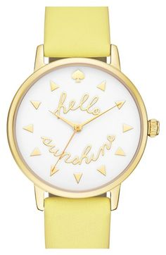 kate spade new york 'metro - sunshine' leather strap watch, 34mm available at #Nordstrom
