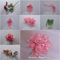 How To Make Beautiful Satin Ribbon Rose ribbon – Embroidery Desing Ideas Diy Ribbon Flowers, Ribbon Flower Tutorial, Ribbon Embroidery Tutorial, Satin Ribbon Flowers, Cloth Flowers, Ribbon Art, Silk Ribbon Embroidery, Fabric Ribbon, Ribbon Crafts