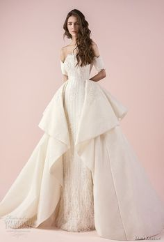 saiid kobeisy 2018 bridal half sleeves off the shoulder straight across scallop neckline full embellishment elegant princess sheath wedding dress a line overskirt (3234) mv -- Saiid Kobeisy 2018 Wedding Dresses