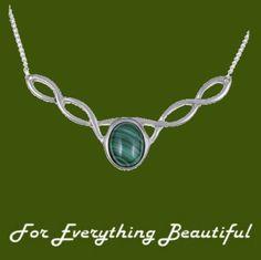 Celtic Knotwork Malachite Design Stylish Pewter Necklace