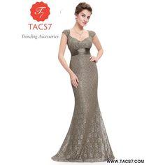 1181d6bf9e Grey Lace Mermaid Evening Dresses Ever Pretty V Neckline