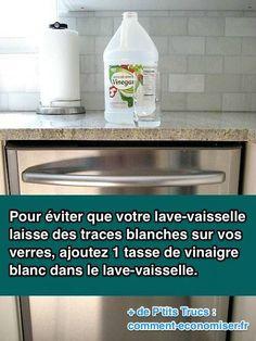 Votre lave-vaisselle laisse des traces blanches sur vos verres ? Et oui, c'est le calcaire dans l'eau qui est la cause de ces vilaines traces.  Découvrez l'astuce ici : http://www.comment-economiser.fr/lave-vaisselle-laisse-traces-blanches-sur-verres.html?utm_content=buffer7b663&utm_medium=social&utm_source=pinterest.com&utm_campaign=buffer
