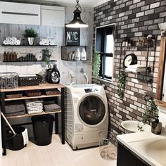 Quick Laundry Corner in the Bathroom Room Interior, Interior And Exterior, Brooklyn Style, Laundry Room Inspiration, Vintage Room, Laundry Room Design, Industrial House, Fashion Room, Home And Living