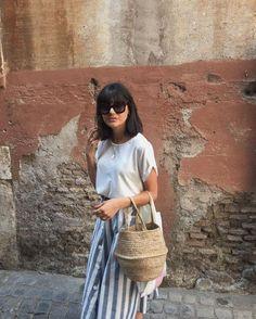 Maria Bernad with basket bag