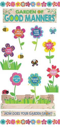 Decorate your classroom for Spring time with this Garden of Good Manners Bulletin Board! Great for teaching positive behavior and manners. Garden Bulletin Boards, Behavior Bulletin Boards, Elementary Bulletin Boards, Kindergarten Bulletin Boards, Spring Bulletin Boards, Bulletin Board Display, Elementary Library, Bulletin Board Design, Bulletin Board Borders