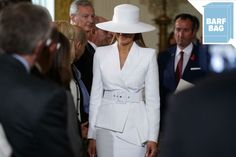 """Melania Trump Has Mastered the """"Don't Touch Me"""" Uniform My Opinions, White Outfits, Suit Jacket, White Dress, Couture, Lady, Coat, Funeral Outfits, How To Wear"""