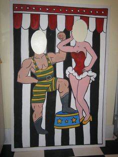 circus/carnival theme --- photo cutout. Even the grandparents would like this one! Halloween Circus, Circus Carnival Party, Circus Theme Party, School Carnival, Carnival Wedding, Carnival Birthday Parties, Theme Halloween, Circus Birthday, Birthday Party Themes