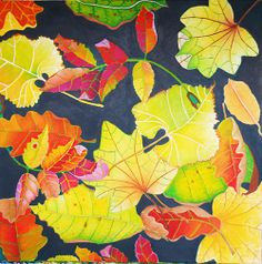 autumn leaves with green background