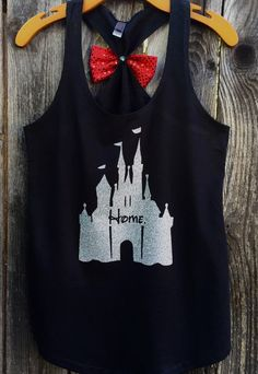 Woman's Disney Castle Home Bow Back Tank Top by 31Blossoms on Etsy