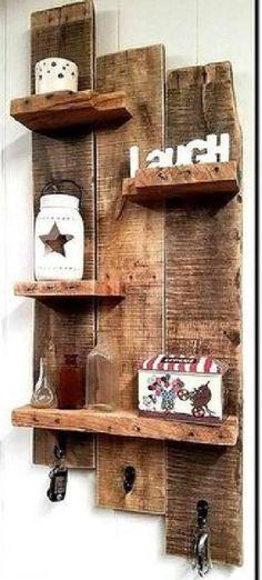 Rustic Wall Shelves, Pallet Wall Shelves, Wood Wall Shelf, Rustic Walls, Entryway Shelf, Reclaimed Wood Shelves, Salvaged Wood, Wood Wood, Palet Shelf