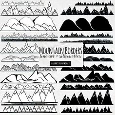 Mountain Landscape Borders including hand-inked, silhouettes and black line art drawings. Borders are 12 inches horizontal. Page Dividers, Landscape Borders, Landscape Art, Doodle Frames, Landscaping Near Me, Landscaping Ideas, Geometric Mountain, Doodle Borders, Bullet Journal Themes