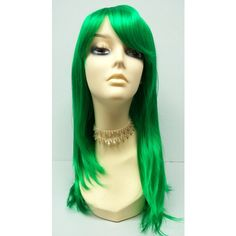 Long 20 Inch Straight Green Wig Cosplay Wig Scene Wig Festival Wig... ($50) ❤ liked on Polyvore featuring beauty products, haircare, hair styling tools, bath & beauty, grey, hair care and wigs