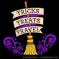 Tricks Treats Travel Witch Witchcraft Magick Broom Halloween Cute Apparel Shirt Gifts Mugs Threadless Casper Spell halloweenhomedecor Halloween Cat, Halloween Themes, Vintage Halloween, Happy Halloween, Halloween Humor, Halloween Greetings, Halloween Wallpaper Cute, Halloween Backgrounds, Line Friends