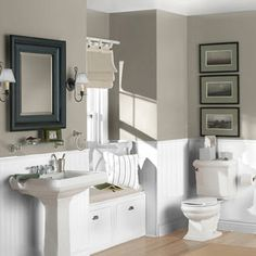 """Living room, bathroom, and bedroom color for new house - Sherwin Williams """"Pewter Tankard""""  Possible cabinet color??"""