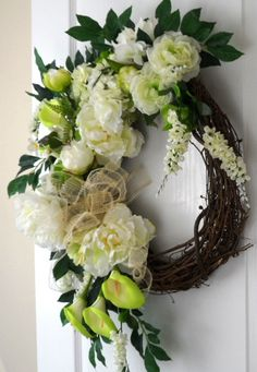 White Floral Grapevine Wreath for Everyday, Weddings, Showers by HungUpOnWreaths