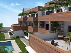 Imagen de las terrazas del bloque de  viviendas en Utrera (Sevilla).