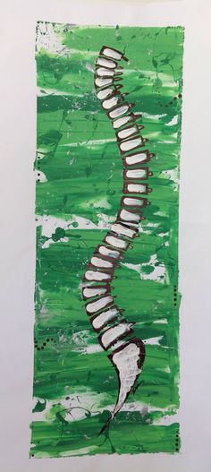 Lateral spine, acrylic on canvas, splatter paint, green, white, black  abstract, chiropractic